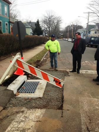 Mayor OBrien Inspects New Catch Basin